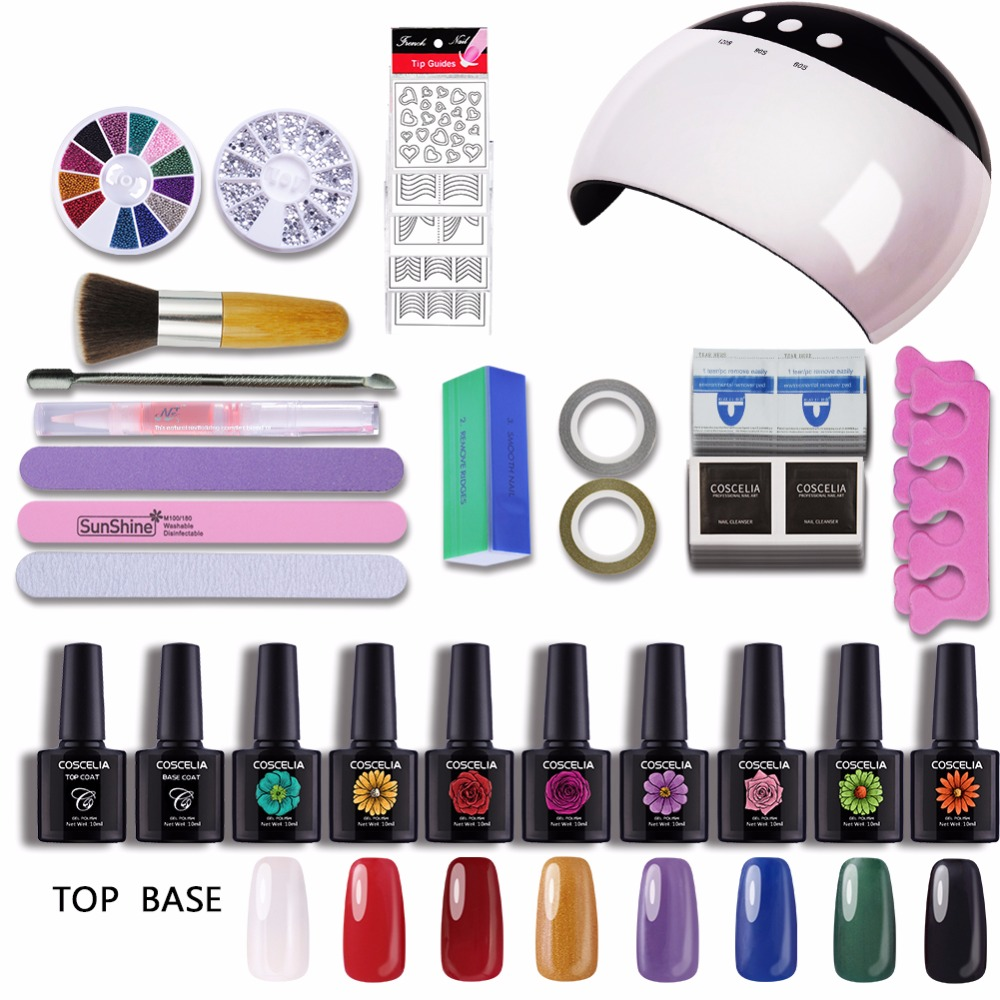 24W UV Lamp LED Dryer USB Manicure UV Gel Nail Art DIY Nail Tools Sets Kits 8 Colors Gel Polish Lamp For Nail Art Sets Manicure