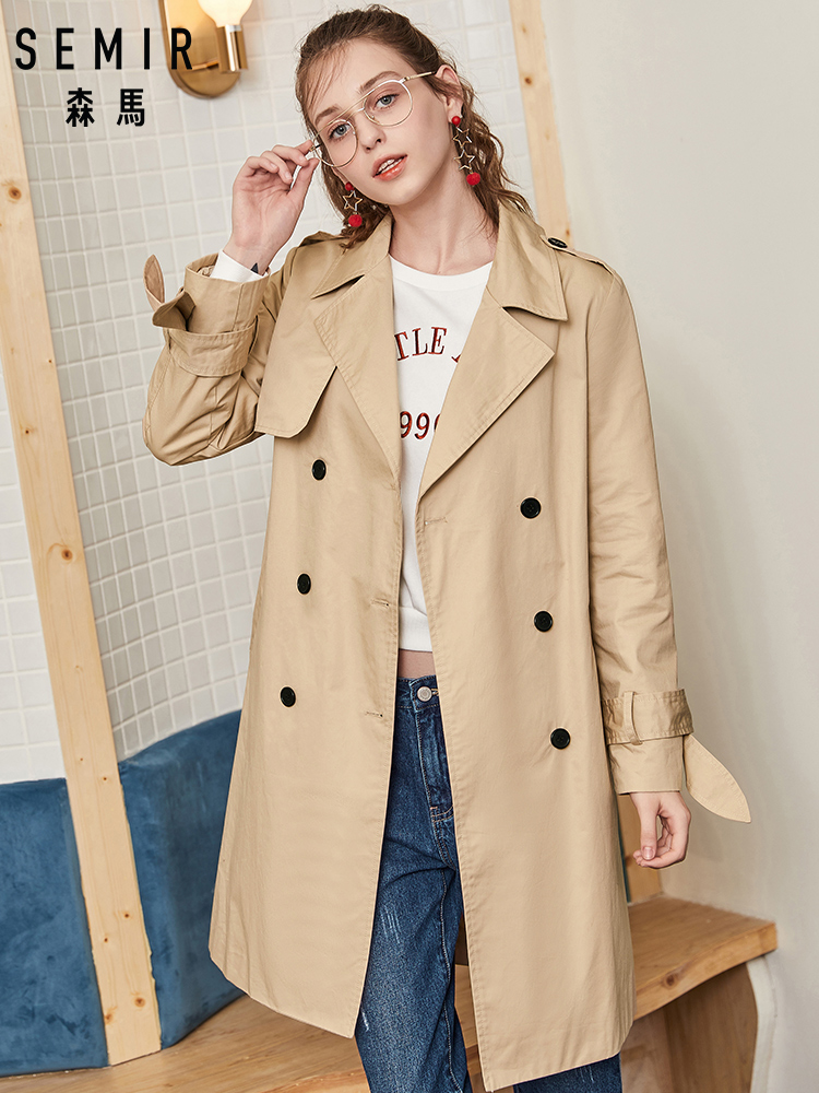 SEMIR Women Double-Breasted Trenchcoat Women's Classic Trench Coat with a Collar Abrigo Mujer Windbreaker Long Outwear Overcoat