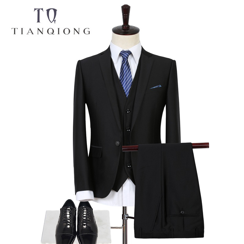 TIAN QIONG Brand Mens Costume de Nunta Top Quality Royal Negru Mens - Imbracaminte barbati