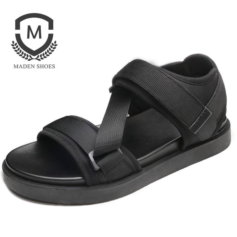MADEN Mens Shoes Rome Style Men Sandals Summer Men Shoes Hook Loop Beach Breathable Sandals Casual Solid Men Zapatillas Hombre