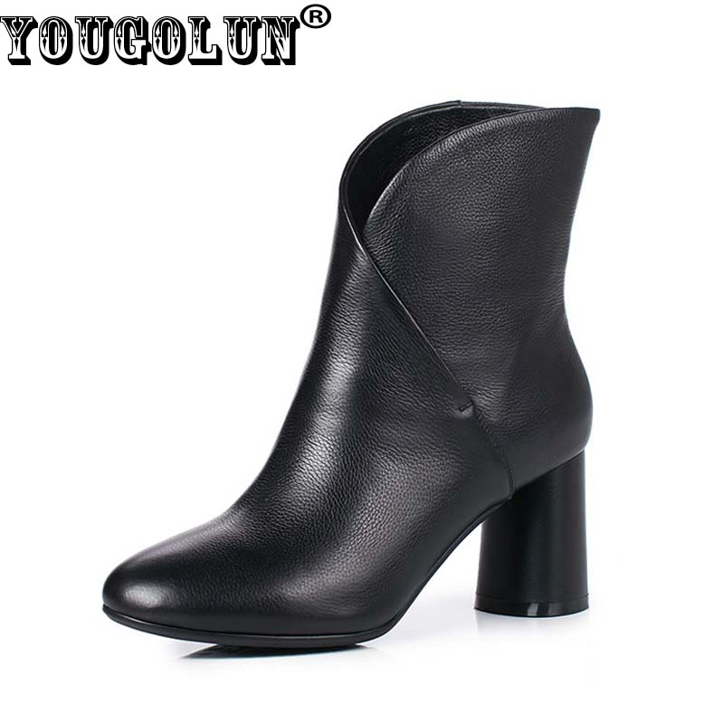 YOUGOLUN Women Ankle Boots 2018 Autumn Winter Genuine Leather Thick Heel 7.5 cm High Heels Black Yellow Round toe Shoes #Y-233 yougolun women ankle boots 2017 autumn black genuine leather square heel 5 cm heels thick heel round toe platform shoes y 061