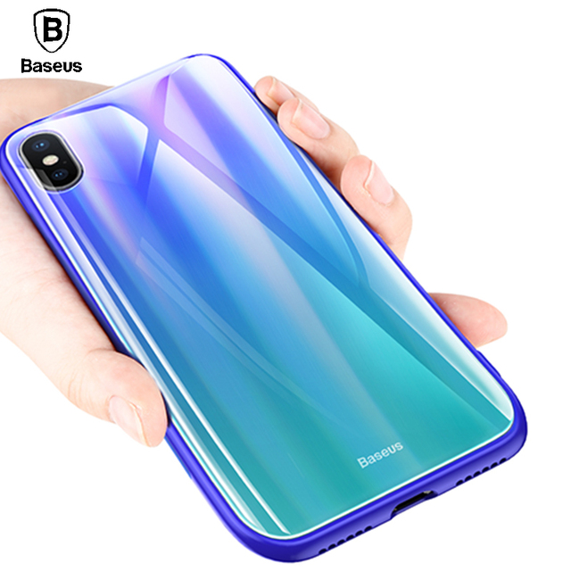 Baseus iPhone X Luxury Aurora Gradient Tempered Glass Protective Back Case Cover
