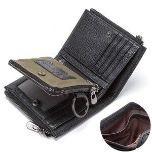 Image 3 - 연락처 정품 가죽 남성용 지갑 RFID 더블 지퍼 짧은 walet cartera hombre 남성용 지갑 portfel man 지갑 동전 주머니