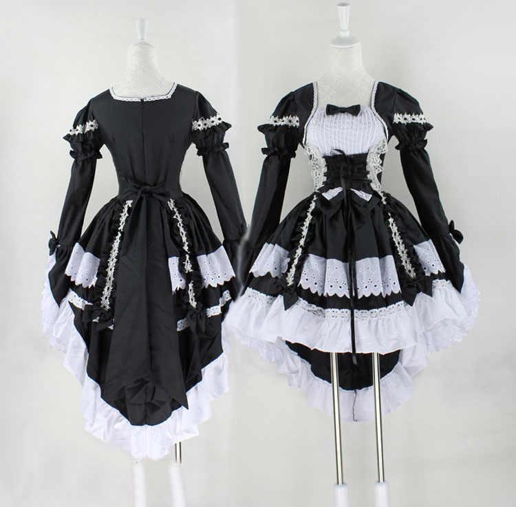 Cosplay Lolita Prenses Elbise Sevimli Hizmetçi Servisi Siyah ve Beyaz Hizmetçi Kostüm Anime Kostüm Okul Renk Seksi