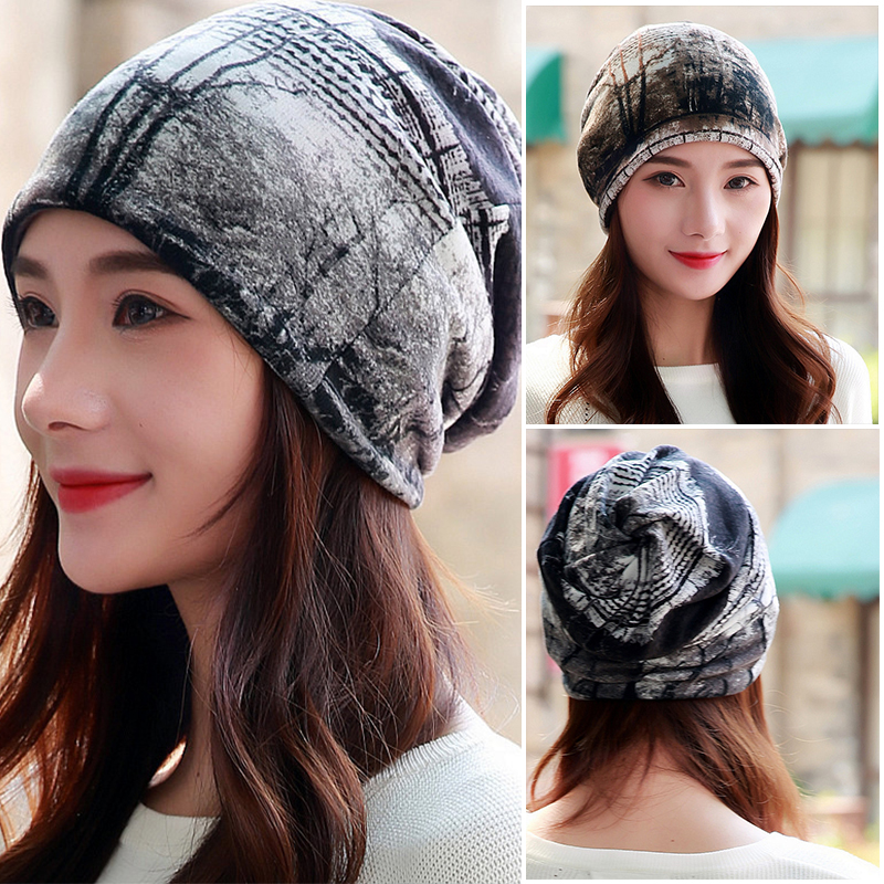 LongKeeper Women Hat Polyester Adult Casual Floral Women's Hats Spring Autumn Two Used Female Cap Scarf 3 Colors Fashion   Beanies