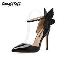 DongCiTaCi Women High Heels Sandals Shoes Woman Pumps Embroidery Dreamy Butterfly Ankle Strap Dress Party Wedding OL Stilettos