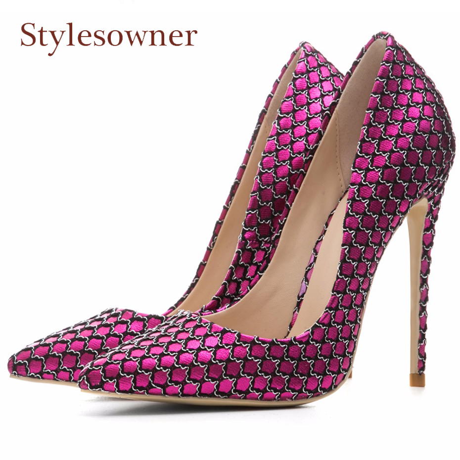 Stylesowner thin high heel shoes women mixed color weave pumps pointed toe stilettos heels party footwear lady wedding shoes