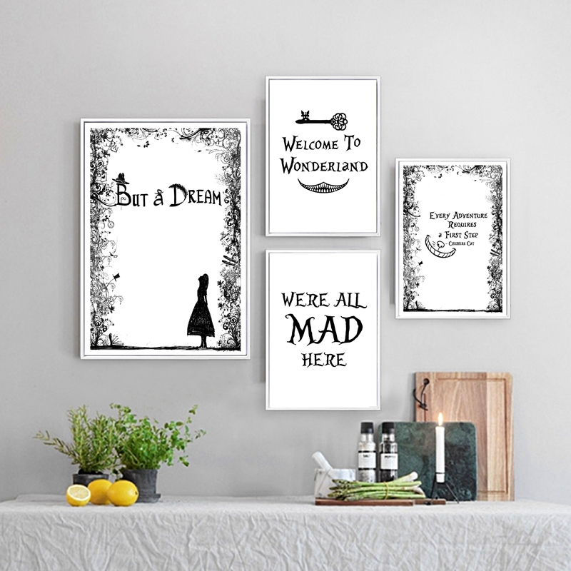 Alice in wonderland we/'re all mad retro vintage style metal wall plaque sign