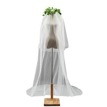 Double-Layer Women Trailing Irregular 2 Tier Wedding Veil Ribbon Covered Wavy Trim Solid Color Mesh Grid Bridal Veil With Comb Bridal Veils