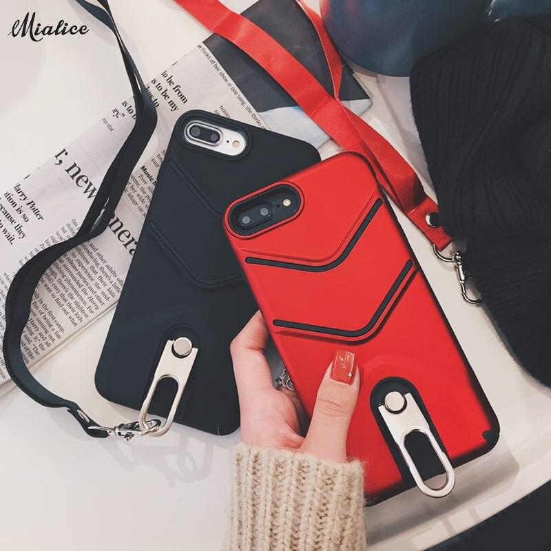 Mode Tomber Téléphone Cas Pour iphone X 7 7 s 6 6 s 6 plus 6 splus Argent Bague Titulaire Grip Dur Cas Avec Sangle
