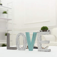 Beautiful Rustic Wood LOVE Letters Decorative Sign Standing Cutout Word Decor Multicolor Wall Letter New Home Decoration(China)