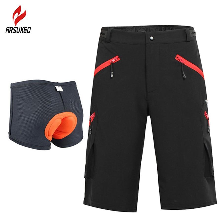 ARSUXEO Mens Outdoor Sports Cycling Downhill DH MTB Shorts Mountain Bike  Bicycle Short Pants Wear Jersey ea52c274b