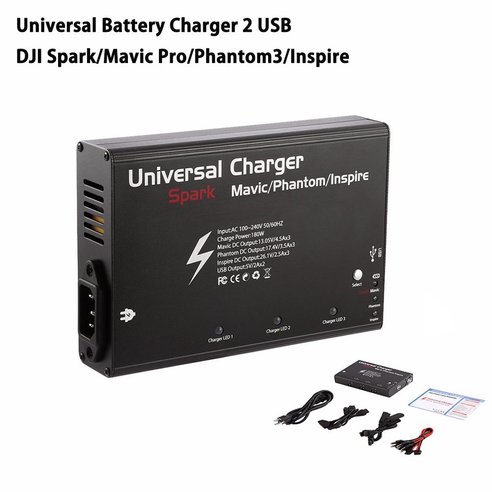 Universal Battery Charger 2 USB Port 3 Charger Output Port Drone Battery Charger For DJI Spark