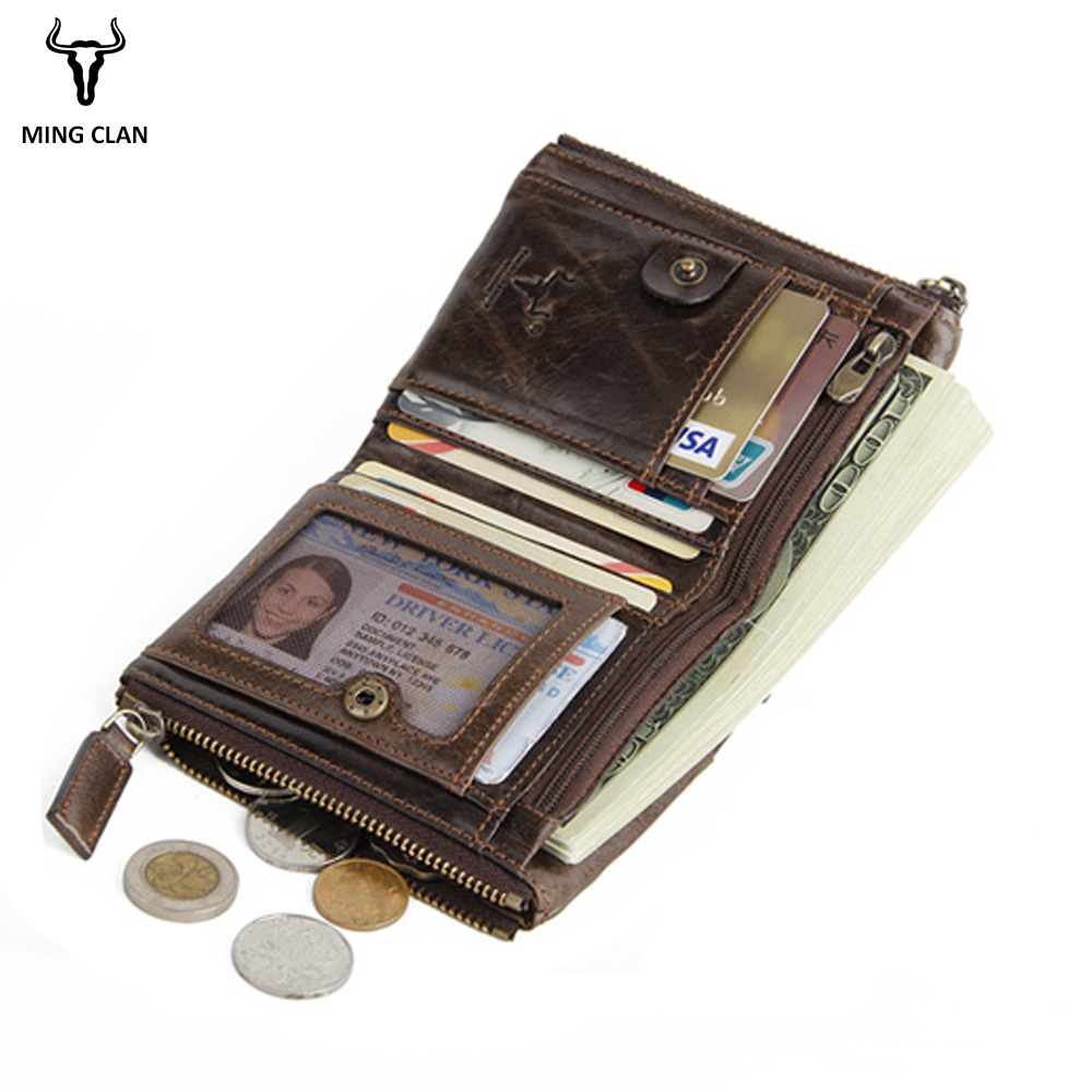 Mingclan Genuine Cowhide Leather Men Wallet Short Coin Purse Small Vintage Wallets Brand High Quality Designer Zipper Pocket new luxury brand 100% top genuine cowhide leather high quality men long wallet coin purse vintage designer male carteira wallets