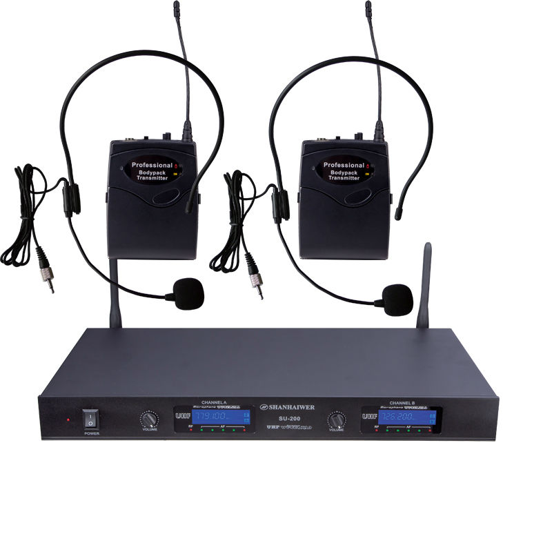 ФОТО UHF  double channel  Headset wireless micriphone   Receiver LCD digital wireless microphone system