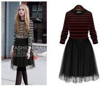 2016 Casual Sweater Color Stitching Striped Knit Net Yarn Splicing Stripe Spell Color Dress Black Es1567