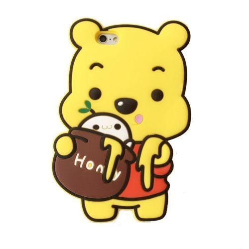 3D Cartoon Bear Cute Honey Winnie-Pooh Back Case Cover For iPhone 4 4s 5 5s 5c 6s 6 Plus 7