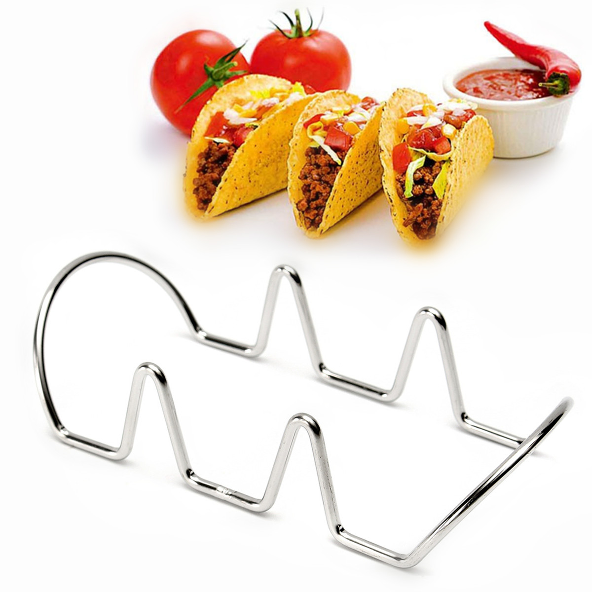 Silver Mexican Taco Rack Holder Stainless Steel Food Rack Display ...
