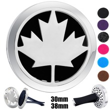 30mm-38mm Silver Canadian Maple Leaf Magnet 316 Stainless Steel Car Aroma Locket Free Pads Essential Oil Car Diffuser Lockets(China)