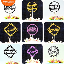 10pcs/lot Happy Birthday Cake Topper Paper Kids Party Cupcake Toppers Sweet 16 Decorations Supplies 2019