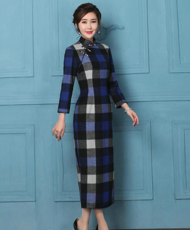 Autumn winter Sexy warm woolen cheongsam dress plaid long sleeve vintage length Chinese woman cheongsam dress Qipao Party show in Cheongsams from Novelty Special Use
