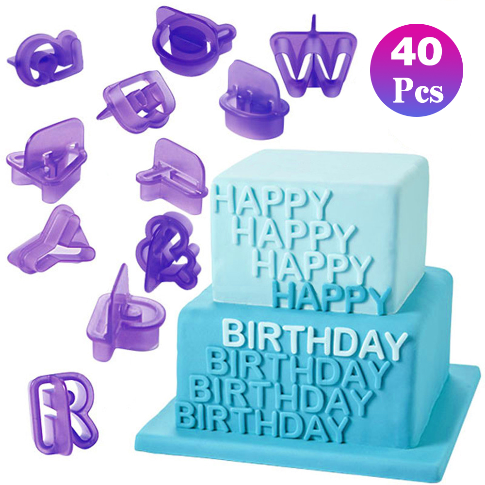 LASPERAL 40PCs Plastic Alphabet Letter Number Fondant Cake Biscuit Baking Mould Cookie Cutters and stamps Cake DIY Alphabet Mold(China)
