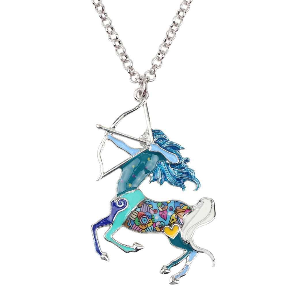 Bonsny Maxi déclaration alliage métal chanceux zodiaque sagittaire collier chaîne Choker pendentif mode émail bijoux pour femmes filles