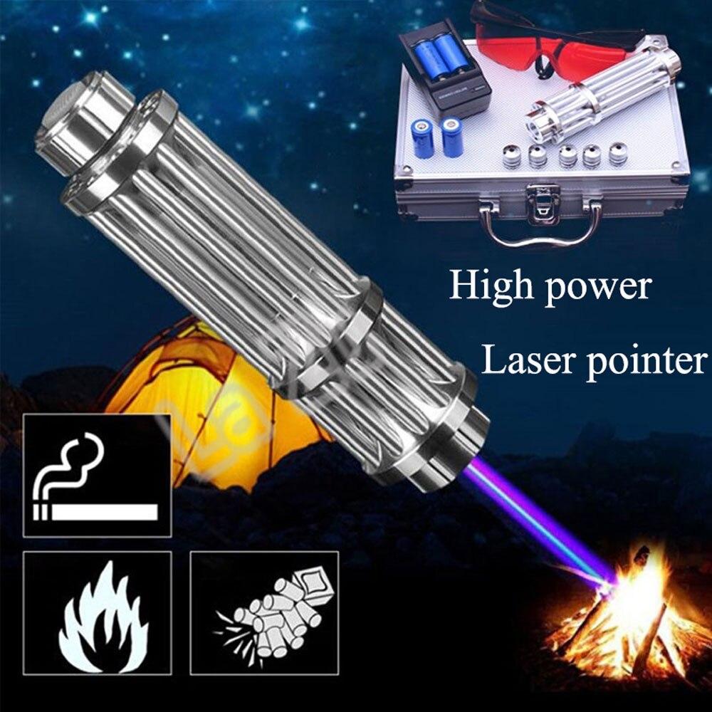 Lueur partie Bar cadeau à l'extérieur foyer réglable haute puissance bleu Laser viseur pointeur 450nm focalisable brûlure Match Lit Cigarette Laser