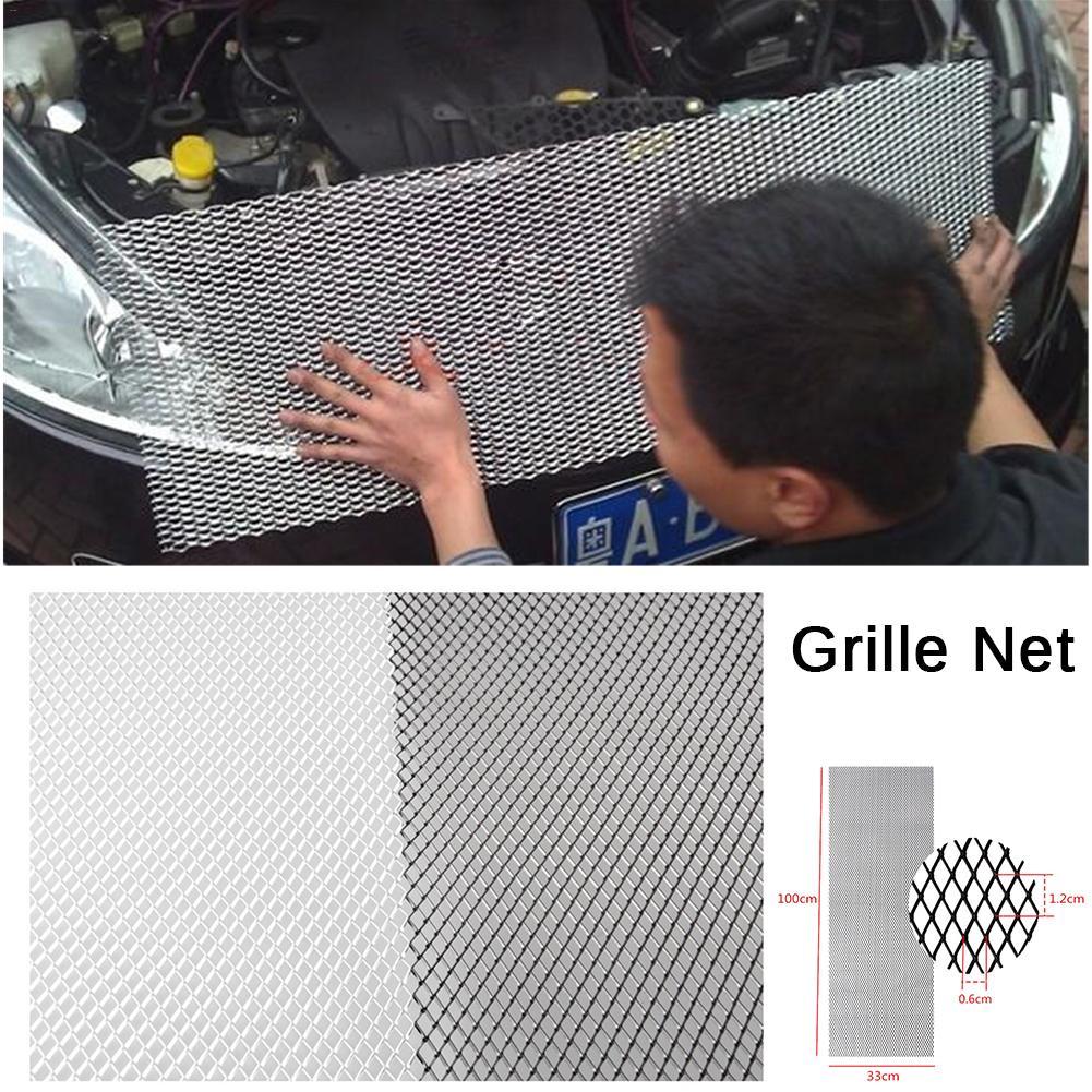 유니버설 100x33cm 알루미늄 자동차 차량 블랙 바디 그릴 그물 메쉬 그릴 섹션 자동차 그릴 그물 레이싱 그릴 블랙/실버