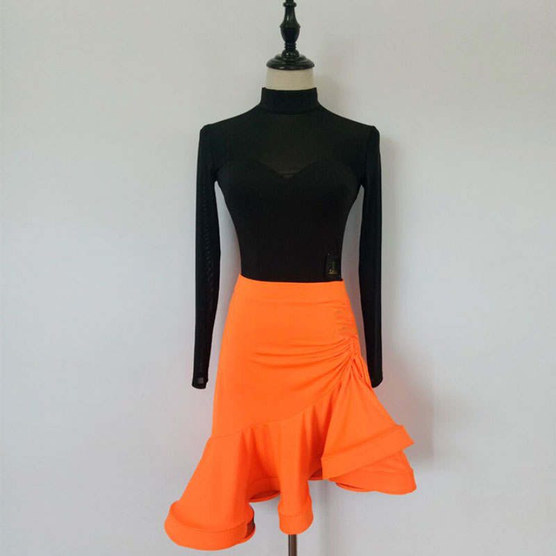 fishbone skirt+longsleeve High collar Mesh body suite Latin dance exercise clothes,skirt has three colors to choose.