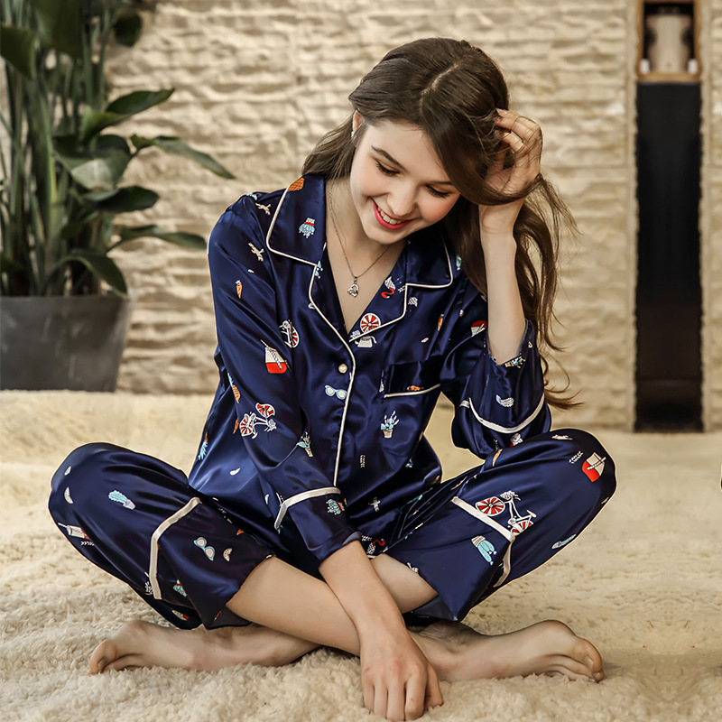 SSH0199 2018 New Women Pajamas Satin Silk Brand Pyjamas Printed V Neck Nightwear Home Clothing Long Sleeve Pant 2pcs Pajama Sets nautica new blue long sleeve v neck pajama top m $32 dbfl