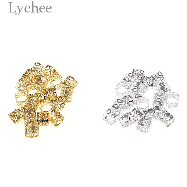 Lychee 20pcs Hip Hop Alloy Hollow Hair Braid Dread Dreadlock Beads Clips Cuff Gold Color Silver Color Headwear Jewelry Men Women