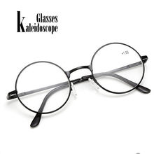 Gafas de Calidoscopio Vintage para hombres y mujeres, lentes de lectura redondas de Metal, con marco de Metal rojo, estilo Retro
