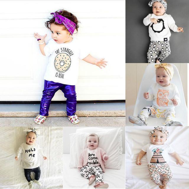 La Manera del bebé 0-24 Meses Bebes Niñas Que Arropan el Sistema t-shirt + Cuero de la pu Leggings 2016 Del Bebé Ropa de Las Muchachas Bobo Choses Bebé mamelucos