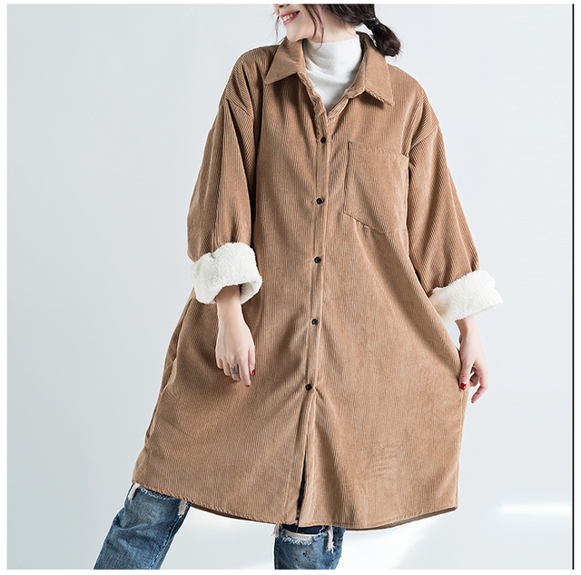 Super warm Fleece Lining Thicken Corduroy Vintage Long Coat Winter Plus Size Long sleeve Retro Trench Coat Lagenlook Cardigan