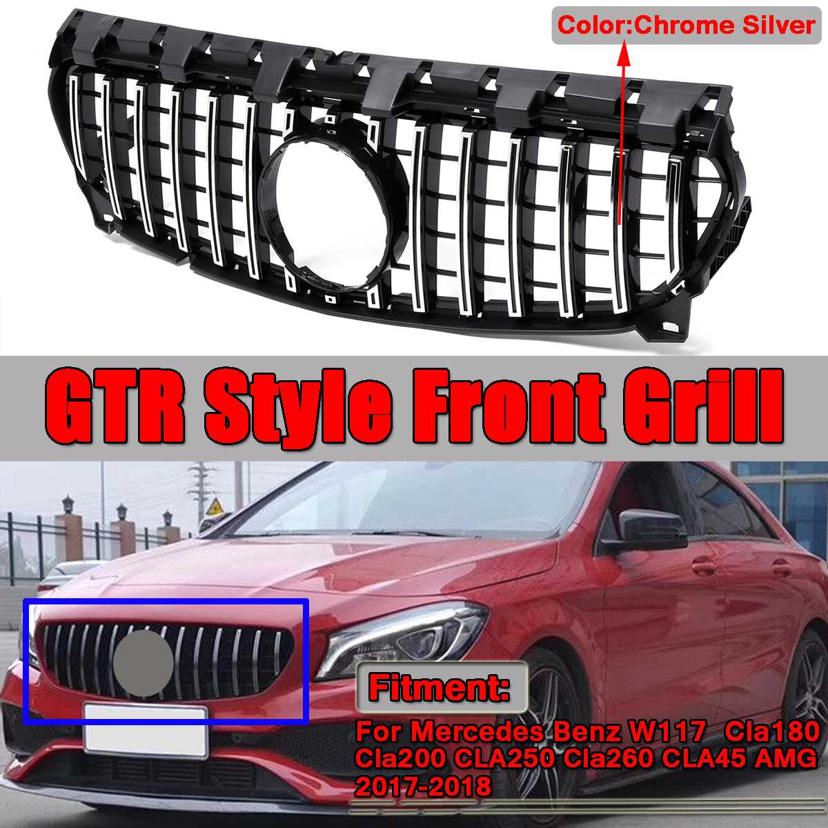 GT GTR Grill Car Front Grille Grill For Mercedes For Benz W117 CLA180 CLA200 <font><b>CLA250</b></font> CLA260 CLA45 For AMG 2013-2016/2017-2018 image