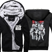Mens Casual The Walking Dead Hoodies Zombie Hands Scary Winter Fleece Super Warm ZIp up Sweatshirts Coats