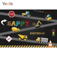 Yeele Baby Boy Birthday Party Construction Vehicle Photography Backgrounds Vinyl Photographic Backdrop For Photo Studio Props цена