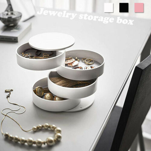 Travel Jewellery 360° Roll Case Box Organiser Round Storage Box Necklace Ear Ring