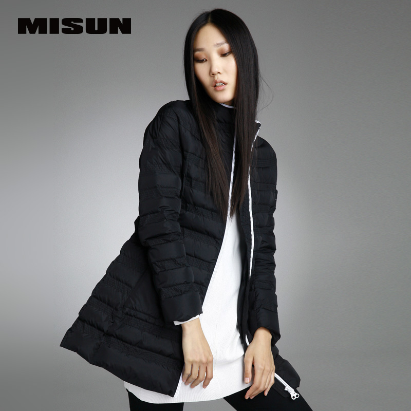 Elegant slim medium-long misun down coat a color block hemming down coat women's