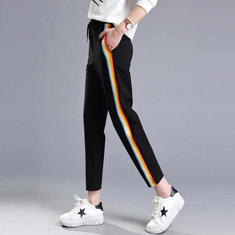 2133dc287c0 2018 Spring Summer Women Casual Sweatpants Rainbow Striped Printed Side Pant  Ladies Loose Trousers Joggers Sweat