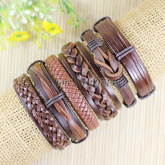 6pcs Handmade Punk Charms Men Braclet For Women Ethnic Tribal Wrap Black Bracelet & Bangle Femme Male Wristband Wrap Jewelry  3
