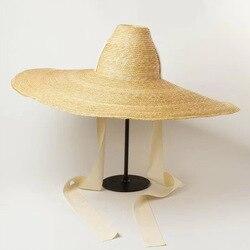 Women Natural Woven Giant Straw Hat Big Brim Floppy Sun Hat High Top Ribbon Band Giant Jumbo Sombrero Hat Adult Summer Beach Hat