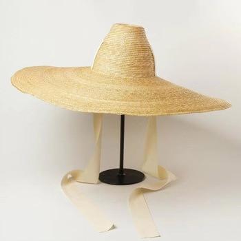 Women Natural Woven Giant Straw Hat Big Brim Floppy Sun High Top Ribbon Band Jumbo Sombrero Adult Summer Beach