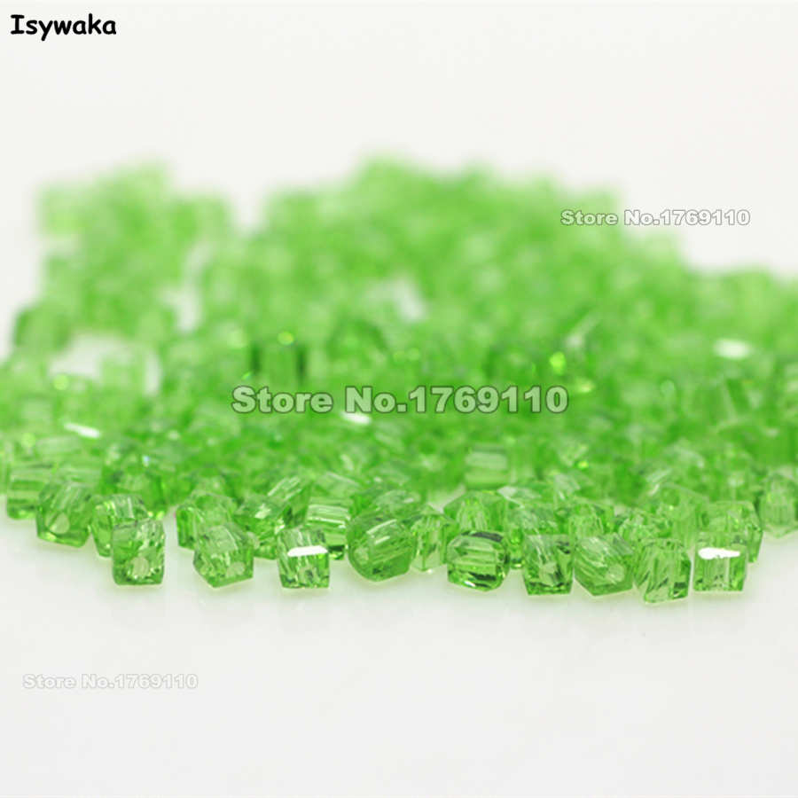 Isywaka 1980pcs Cube 2mm Light Green Color Square Austria Crystal Bead Glass Beads Loose Spacer Bead For DIY Jewelry Making