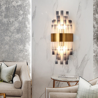 Luxury modern crystal wall lamp for living room gold home decoration wall sconces smoke gray bedside bedroom wall lamp