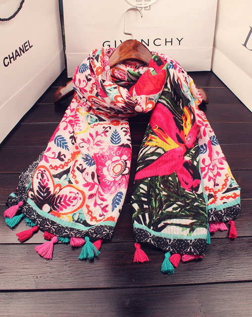 79aa62c96702 2016 New Colorful Vintage Flower Print Scarf Women Long Cotton Floral Print  Wrap Shawls Scarves Hijab Free Shipping
