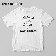 b1657fd044 EMIR ROFFER Believe in the Magic of Christmas Shirt Women Funny Black T  Shirt Magic Sayings