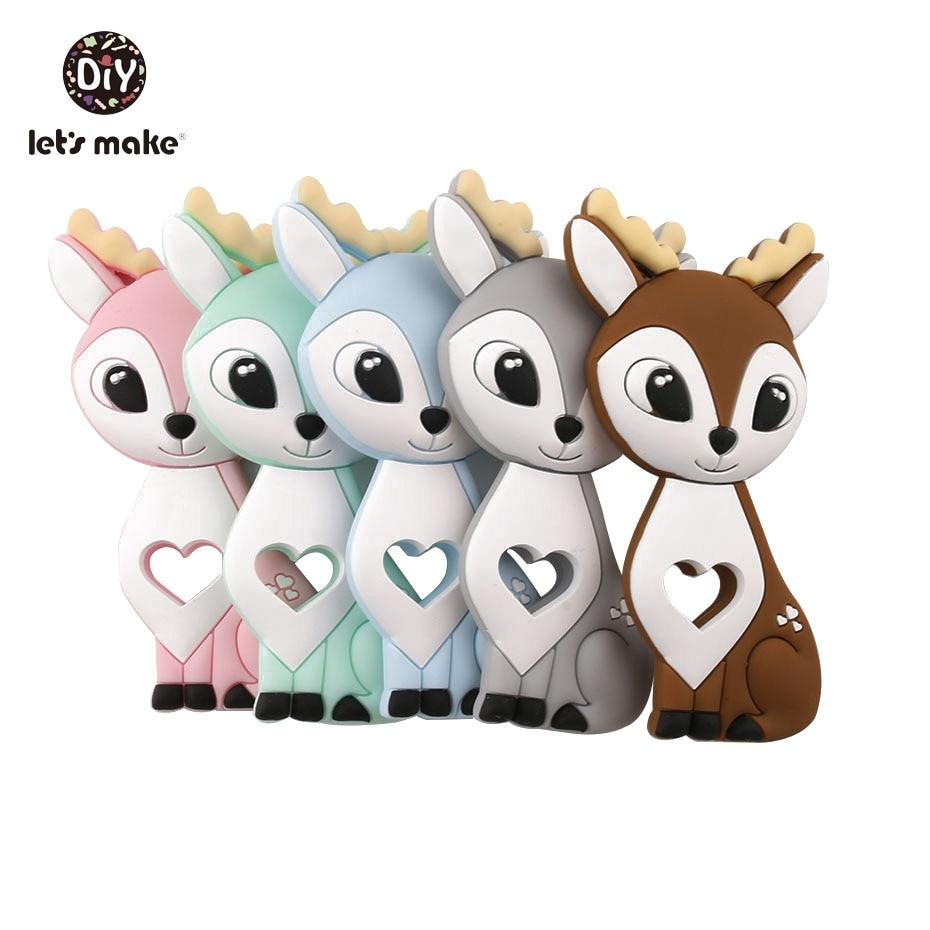 Let's Make 10pc Silicone Sika Deer Teether BPA FREE Children Training Toys Baby Dental Car Safe And Natural Nursing Pendant