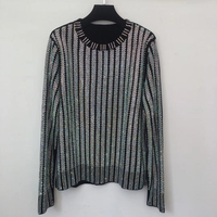 2018 High Quality Womens Rhinestone Sweater Long Sleeves O Neck Pullover Beading Crystal Sweater Tops
